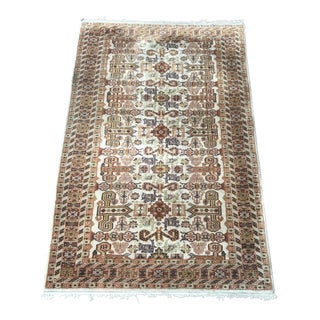 Late 20th Century Hand-Knotted Wool Pile Rug - 4′ × 6′ For Sale