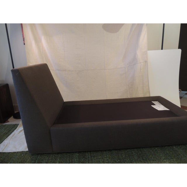 "Crate and Barrel Chaise Lounge in Brown Linen Two cushions. Soft poly filled. Small plastic legs. Sizes: 63.5"" L x 16"" SH..."