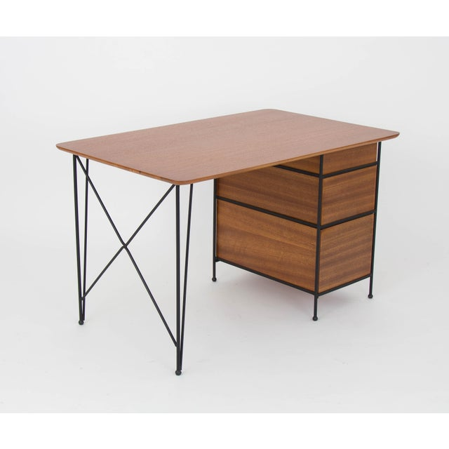 Modernist Desk in Mahogany and Enameled Steel by Vista of California - Image 8 of 9