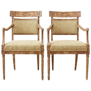 Pair of Neoclassical Directoire Style Fauteuil Armchairs For Sale