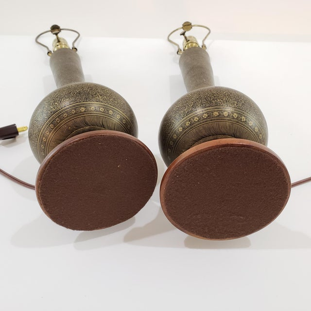 Brass Mid-Century Arabesque Brass Lamps - a Pair For Sale - Image 8 of 13
