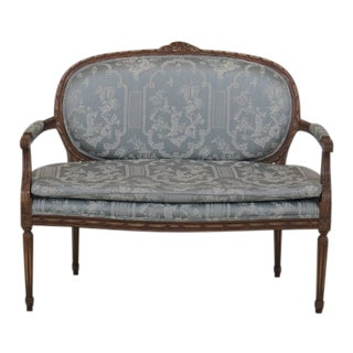 French Louis XV Carved Frame Settee Loveseat For Sale