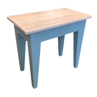 2010s Shabby Chic Hand Painted Wooden Bench/Side Table