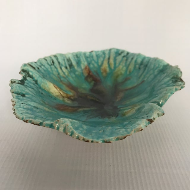 Boho Chic Majolica Begonia Leaf Plate For Sale - Image 3 of 7