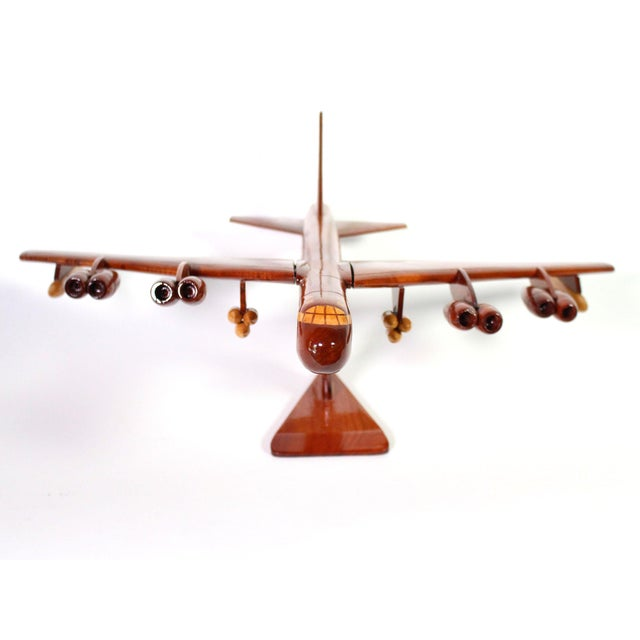 1970s 1970s Mid-Century Hand Carved Wood Replica B-52 Jet Plane For Sale - Image 5 of 8