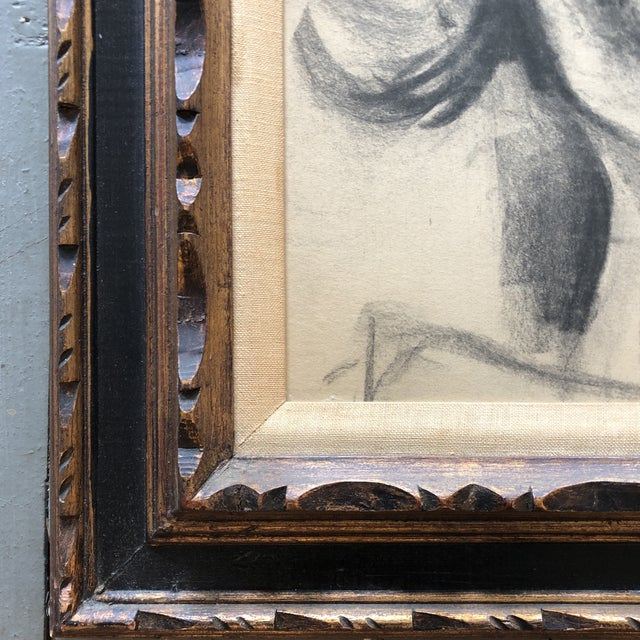 Contemporary Original Vintage Female Portrait Charcoal Study Drawing Carved Mid Century Frame For Sale - Image 3 of 5