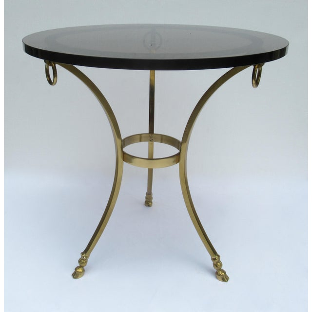 Labarge Vintage LaBarge Regency Brass Hoofed & Bronze Glass Gueridon Table For Sale - Image 4 of 13