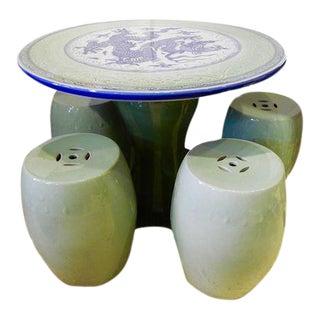 Porcelain Tea Table & Stool Dining Set