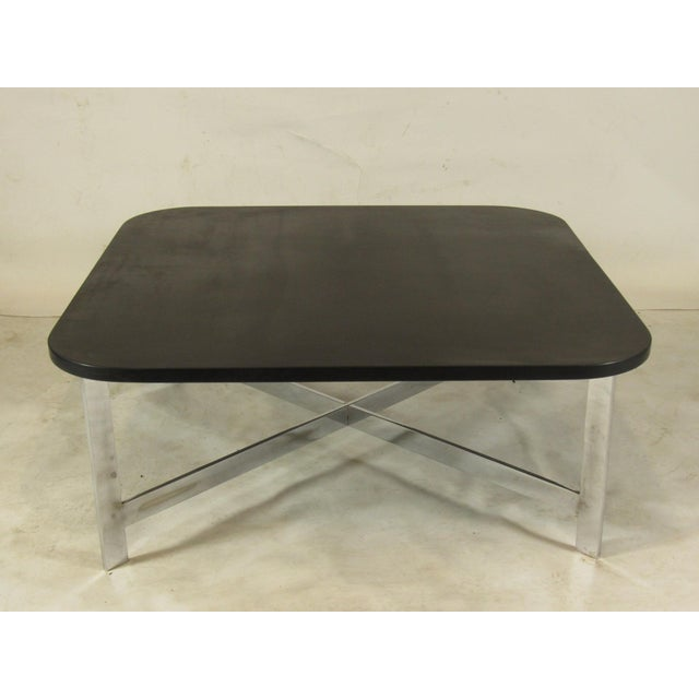 French Mid-Century Slate & Chrome Coffee Table For Sale - Image 9 of 9