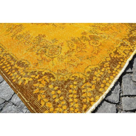 """Yellow Turkish Rug -- 3'11"""" X 6'9"""" - Image 4 of 6"""