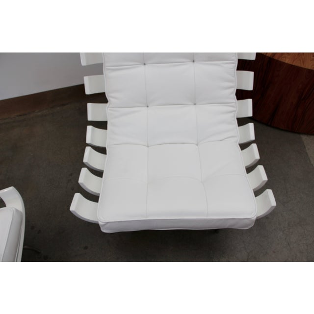 """Modern Pair of 1990's Scala Luxury """"Rib"""" Lounge Chairs With New Leather Cushions For Sale - Image 3 of 11"""