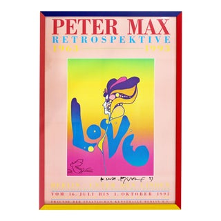 Contemporary Modern Framed Poster Signed Peter Max Berlin 30 Year Retrospektive For Sale