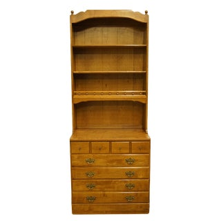 20th Century Early American Ethan Allen Heirloom Nutmeg Maple Bureau With Open Bookcase Top For Sale