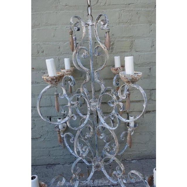 8-Light Painted Italian Chandelier with Drops - Image 4 of 8