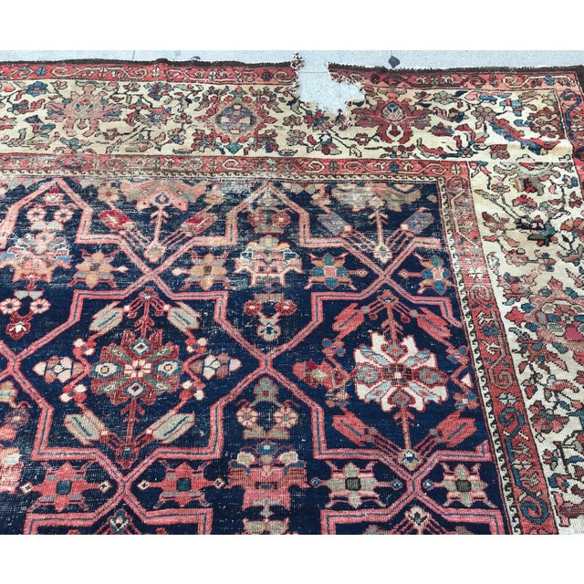 Vintage Design Decorative Blue Background Color Mahal Rug- 9′5″ × 13′5″ For Sale - Image 11 of 13