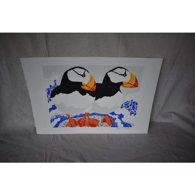 Contemporary Late 20th Century Vintage Ann T. Cooper Puffins Lithograph Print For Sale - Image 3 of 4