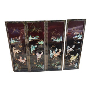 Vintage Oriental Mother of Pearl Relief Horses Black Lacquer Wall Art Screens - Set of 4