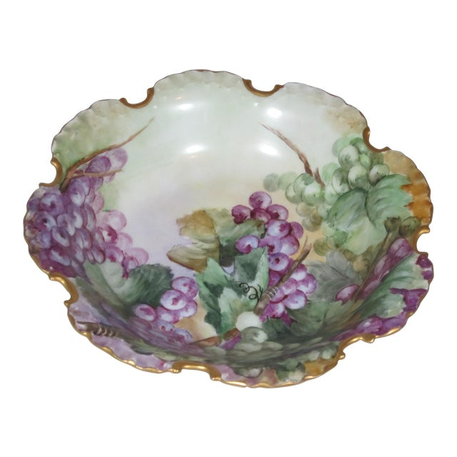 Antique Rosenthal Bavarian Hand Painted Grape Bowl For Sale