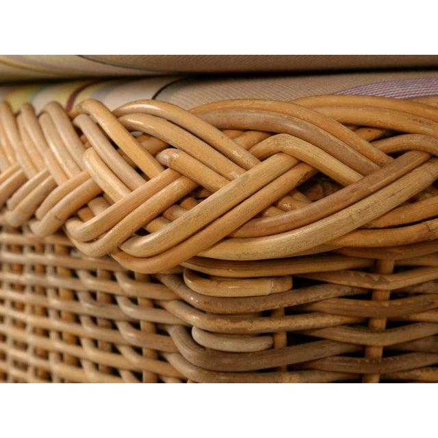 "Vintage Italian Les Toiles Du Soleil Upholstered ""Wicker Works"" Bench - Image 7 of 11"