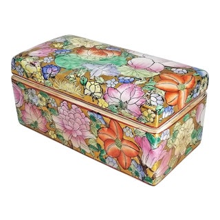 Famille Rose Pink and Gold Chinese Porcelain Jewelry or Keepsake Box - Flowers and Fruits - Signed - Palm Beach or Boho Chic Style For Sale