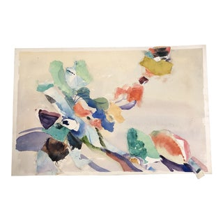 Vintage Original Abstract Painting Mixed Media Collage/Watercolor For Sale