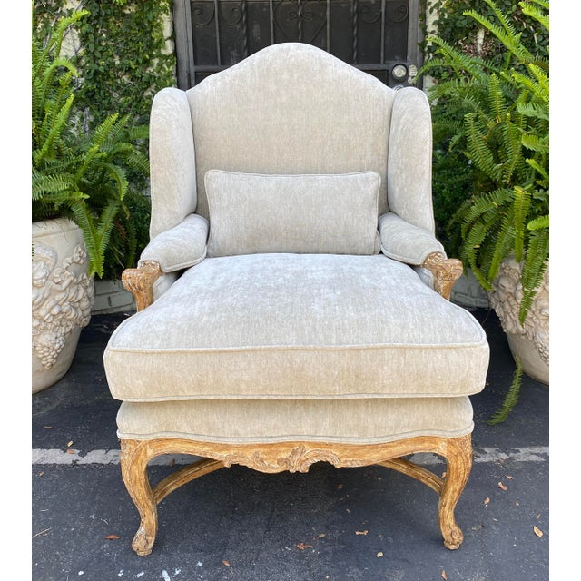 Antique Early 19c Carved Louis XV Style Wingback Arm Chair