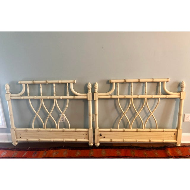 Wood Faux Bamboo Chippendale Pagoda Twin Headboards- a Pair For Sale - Image 7 of 8