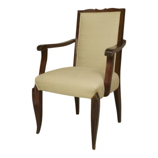 Set Of 4 French Art Deco Style (1950s) Mahogany Stained Open Arm Chairs