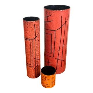 Mid Century Italian Vase Set in Red/Orange by Vallenti - Set of 3 For Sale