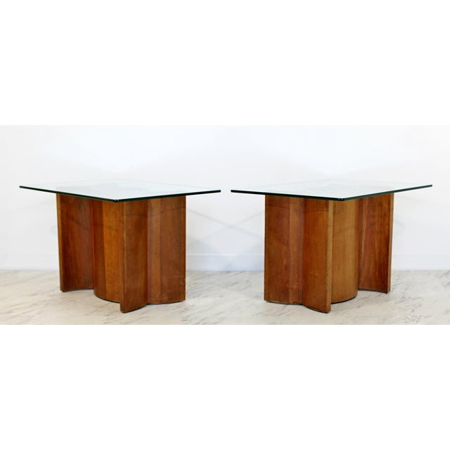 For your consideration is a gorgeous pair of side or end table, with unique sculptural walnut wood bases and rectangular...