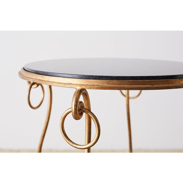 Late 20th Century Rene Drouet Style Gilded Iron and Granite Table For Sale - Image 5 of 13