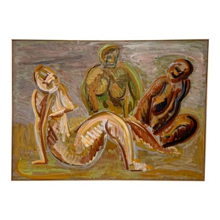 Dated 1956 Harold Mesibov Modernist Figurative Oil Painting in Manner of Matisse For Sale