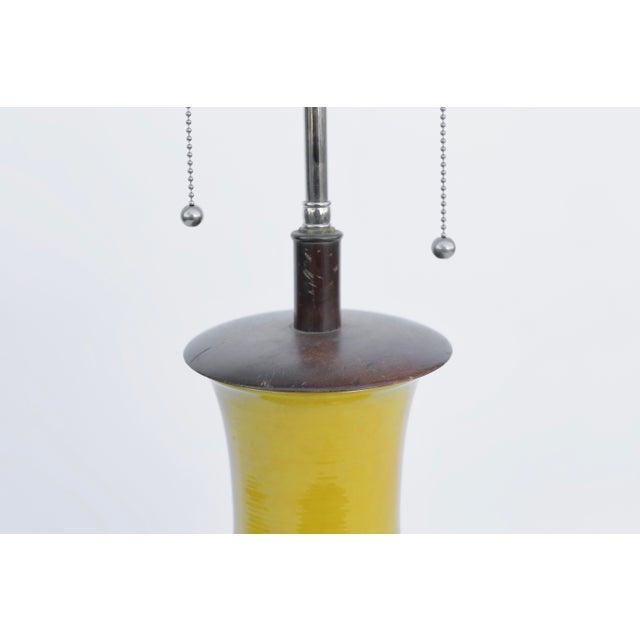 Mid-Century Modern Acid Yellow Ceramic Lamp For Sale - Image 3 of 5