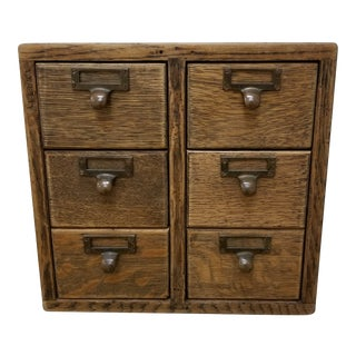 1940s Arts & Crafts Mission Oak Apothecary Library Desk Top File Cabinet For Sale