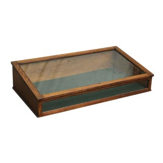 Imported Oak Vintage Table Top Display Case For Sale