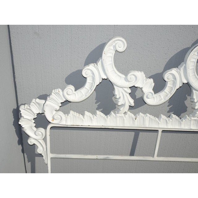 Vintage French Provincial Louis XVI Rococo White Metal King Headboard For Sale - Image 10 of 12