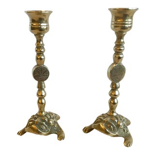 Vintage Brass Petite Frog Candle Holders - a Pair For Sale