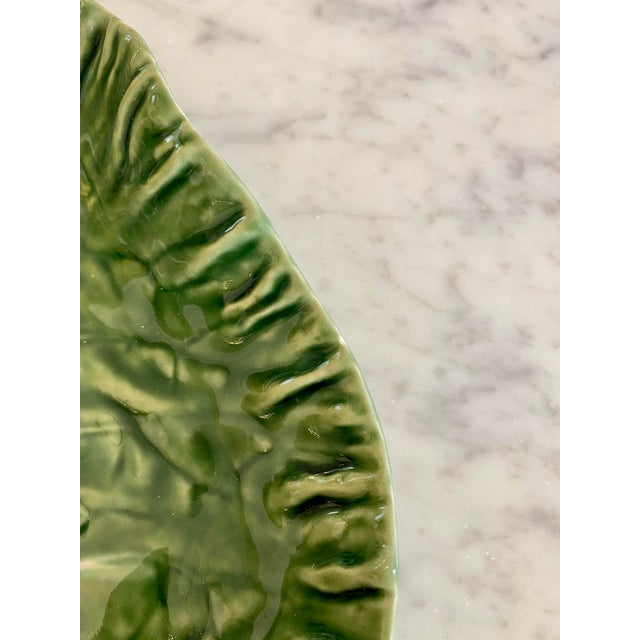 Traditional Vintage Majolica Green Cabbage Divided Serving Platter For Sale - Image 3 of 6