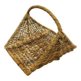 Large Vintage Woven Cane or Wicker Log Basket Boho For Sale