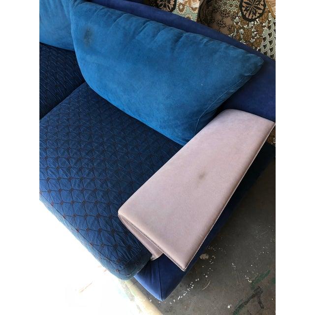 Ink Blue Post Modern Giorgio Saporiti Memphis Style Sofa For Sale - Image 8 of 13