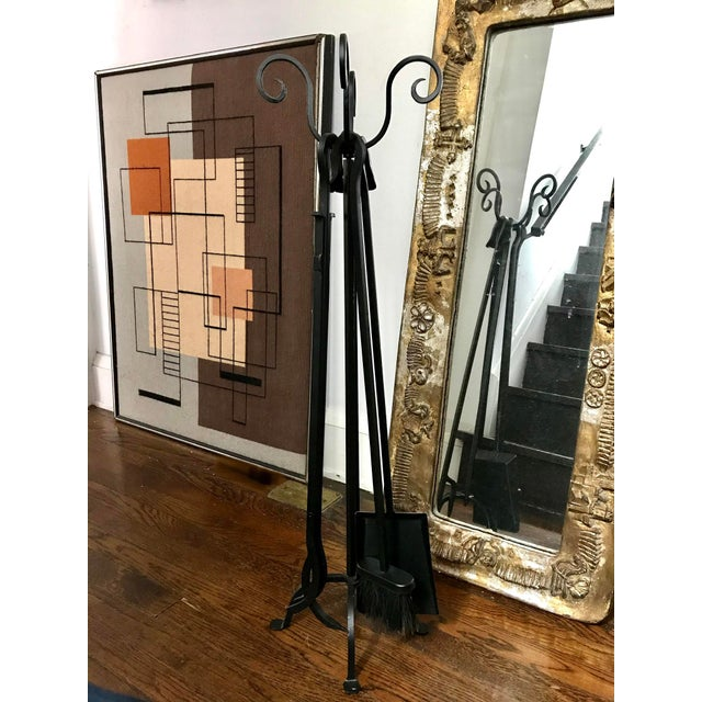 Mid-Century Iron Fire Place Set/ Black Metal Handle Fireplace Tool Set - 4 Piece Fireplace Tools For Sale - Image 4 of 7
