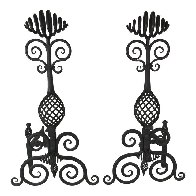 Mid Century Art and Crafts Wrought Iron Hand Frogged Iron Andirons for Fire Place - a Pair For Sale