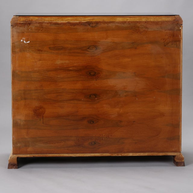 Reeded Maple Cabinet with Rosewood Trim and Black Glass For Sale - Image 4 of 13