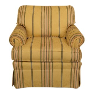 Ethan Allen Yellow Damask Upholstered Club Chair