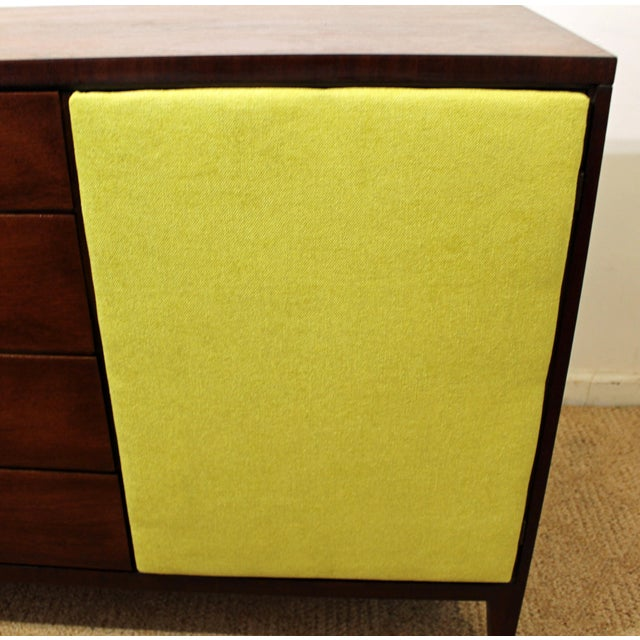 Brass Mid-Century Danish Modern Hidden Pull Walnut Credenza For Sale - Image 7 of 11