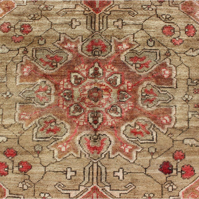 Tan Vintage Mid-Century Persian Rug - 4′2″ × 6′4″ For Sale - Image 8 of 11