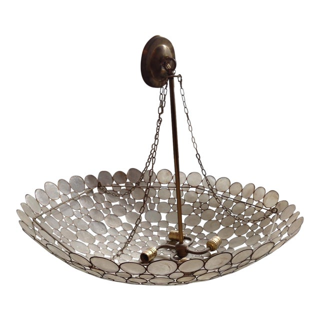 Capiz Shell & Brass Bowl Chandelier - Image 1 of 5