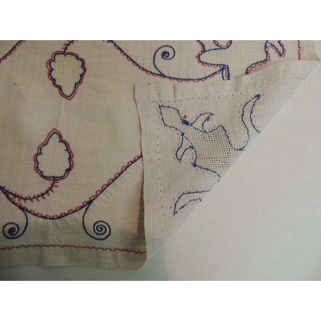 Boho Chic Antique Red White and Blue Embroidery Table Runner For Sale - Image 3 of 5
