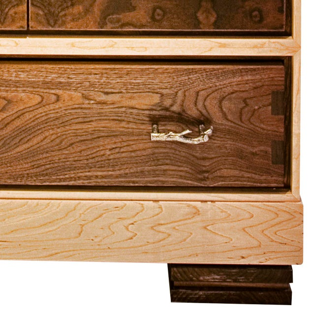 "Contemporary ""Window"" Burl Wood Cabinet For Sale - Image 3 of 6"