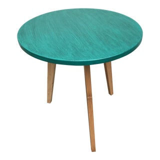 Modern Turquoise Bamboo Leg Table For Sale